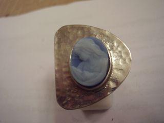 Aus Nachlass 800 Silber Ring Mit Blauer Achat Gemme Mutter Mit Kind Unikat Bild