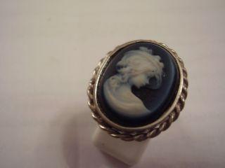 Aus Nachlass 800 Silber Ring Mit Schwarzer Achat Gemme Unikat Bild