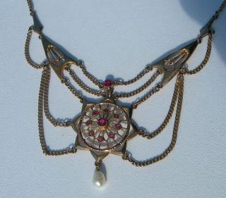 Traumhaft Jugendstil Collier Rubine Gold Doublé Perle G.  J Meistermarke Bild