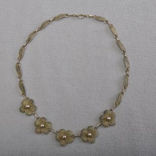 Theodor Fahrner Art Deco Collier 925er Silber,  Vergoldet Kette Filigran Bild
