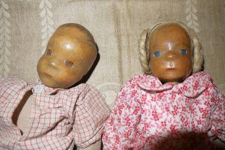 Junge Und Mädchen Puppen Mit Holz Kopf,  Wohl 50er Jahre Bild