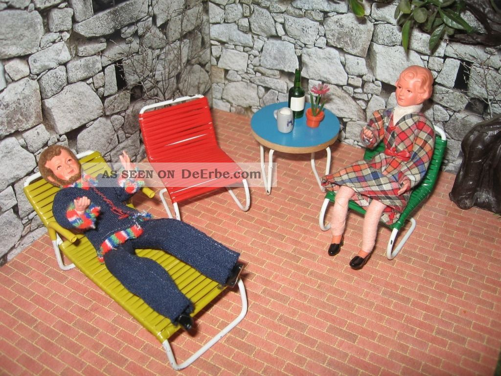 1 12 gartenm bel 50er jahre puppenhaus puppenstube puppenm bel deko. Black Bedroom Furniture Sets. Home Design Ideas