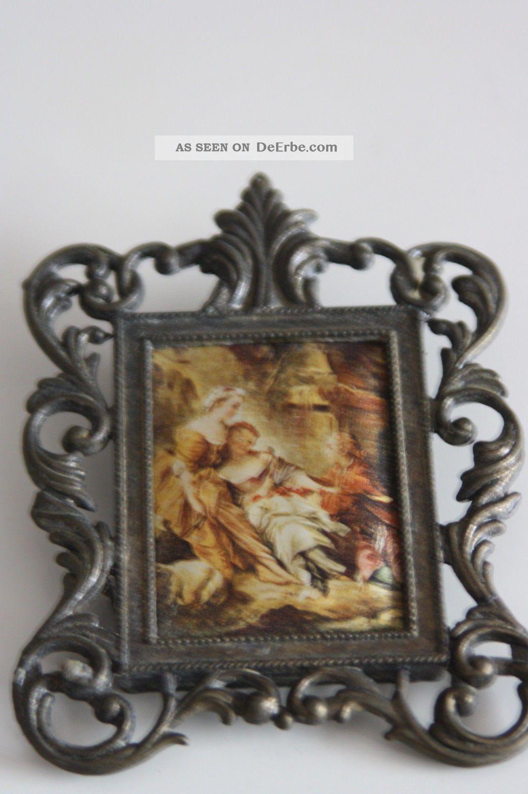 Bild Seidenmalerei, Bilderrahmen Zinn - Miniatur F. Puppenstube ...