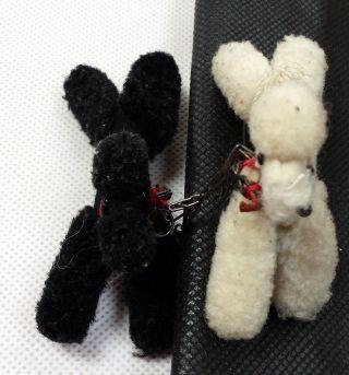 Steiff Wollminiatur 2 Pudel Hund Schwarz Weiss Halsschleife Wolle Filz Tiere Bild