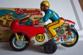 Motorrad Motorradfahrer Aus Blech Tin Toys Bild