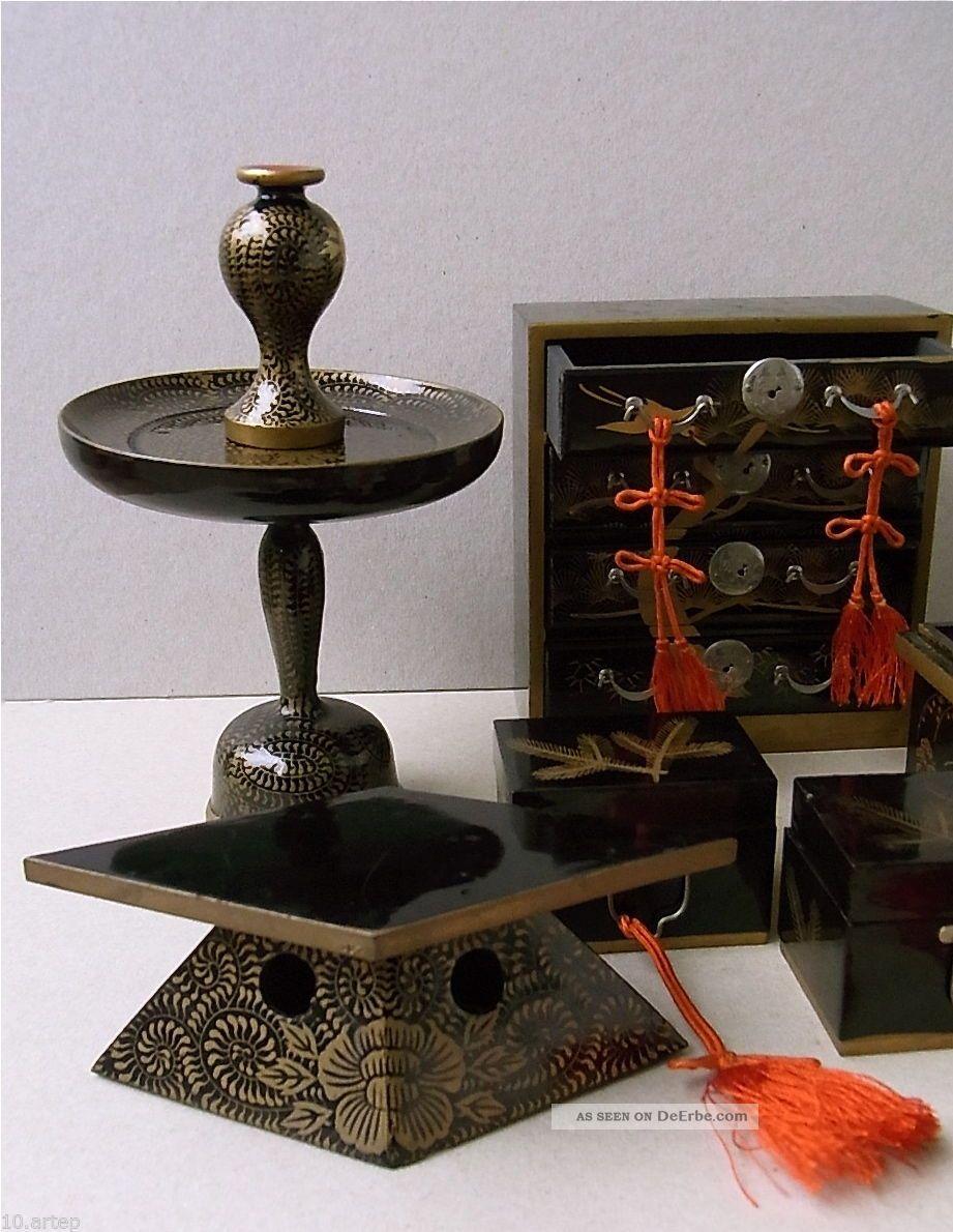 7 puppen m bel f hina matsuri fest holz lack gold. Black Bedroom Furniture Sets. Home Design Ideas