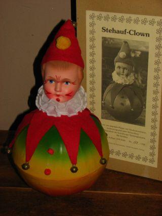 Schöner Großer Steh Auf - Clown - Geprägte Pappe Mit Glockenklang Bild