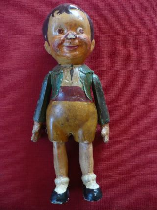 Antike Puppe Komplett Aus Pappmaschee - Beweglich - Höhe Etwa 40 Cm Bild