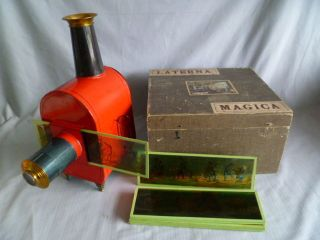 RaritÄt Carette Laterna Magica Im Holzkasten Mit Vielen Bildern Ca.  1900 Bild
