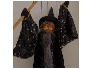 Zauberer Marionette Handpuppe Puppe Sterne Zauberhut Bild