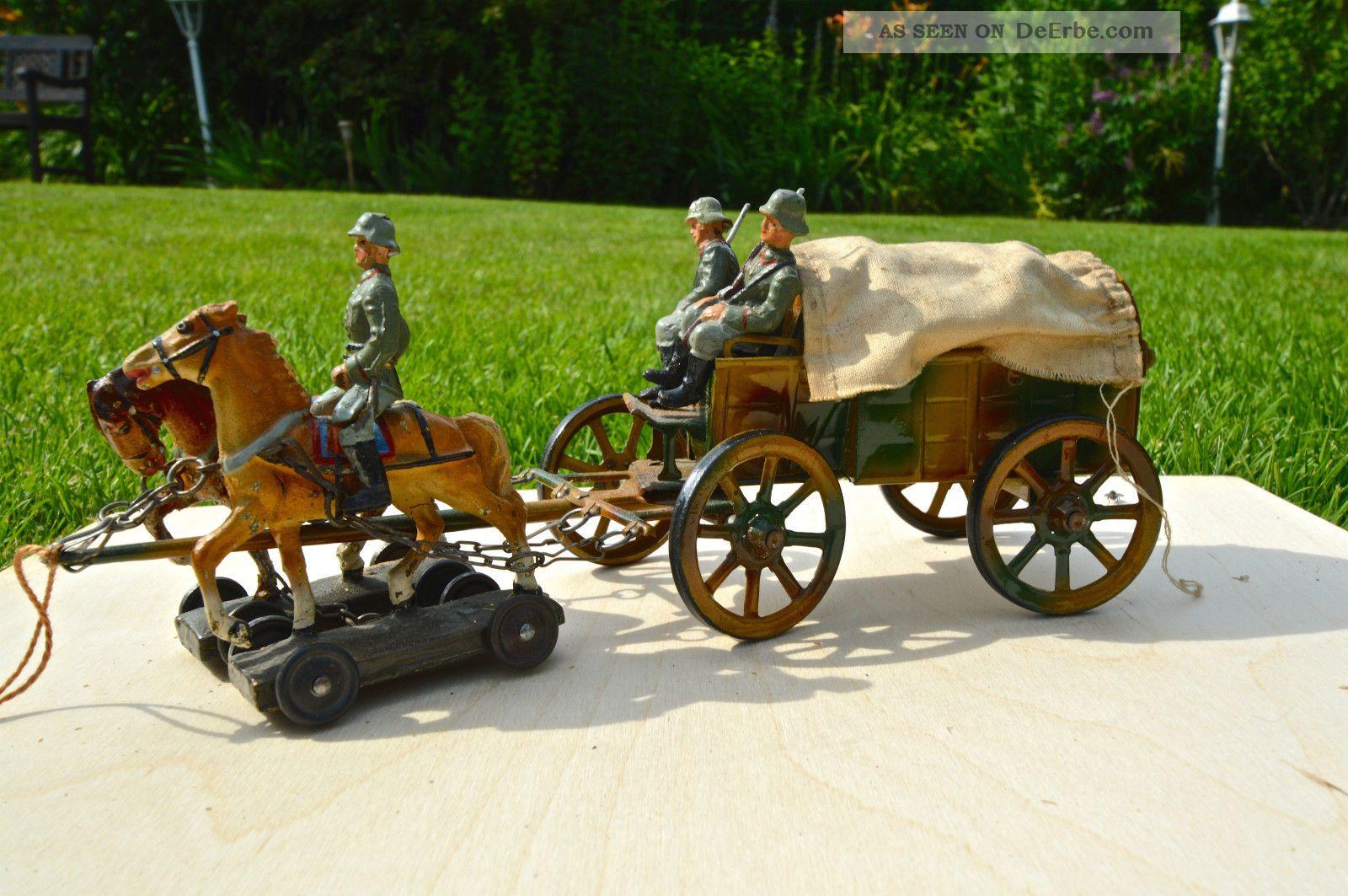 Lineol Planwagen,  Blechspielzeug,  Mit Beleuchter,  Soldat,  Rarität Original, gefertigt vor 1945 Bild