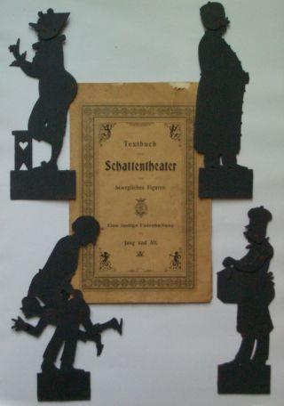 Textbuch Zum Schattentheater Mit Beweglichen Figuren & 5 Figuren Ca.  1880 Bild