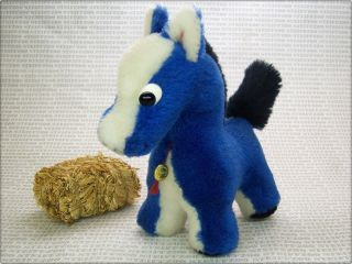 Hermann Blaues 22cm Pferd Old 8,  6 Inch Blue Horse With Id Button Bild