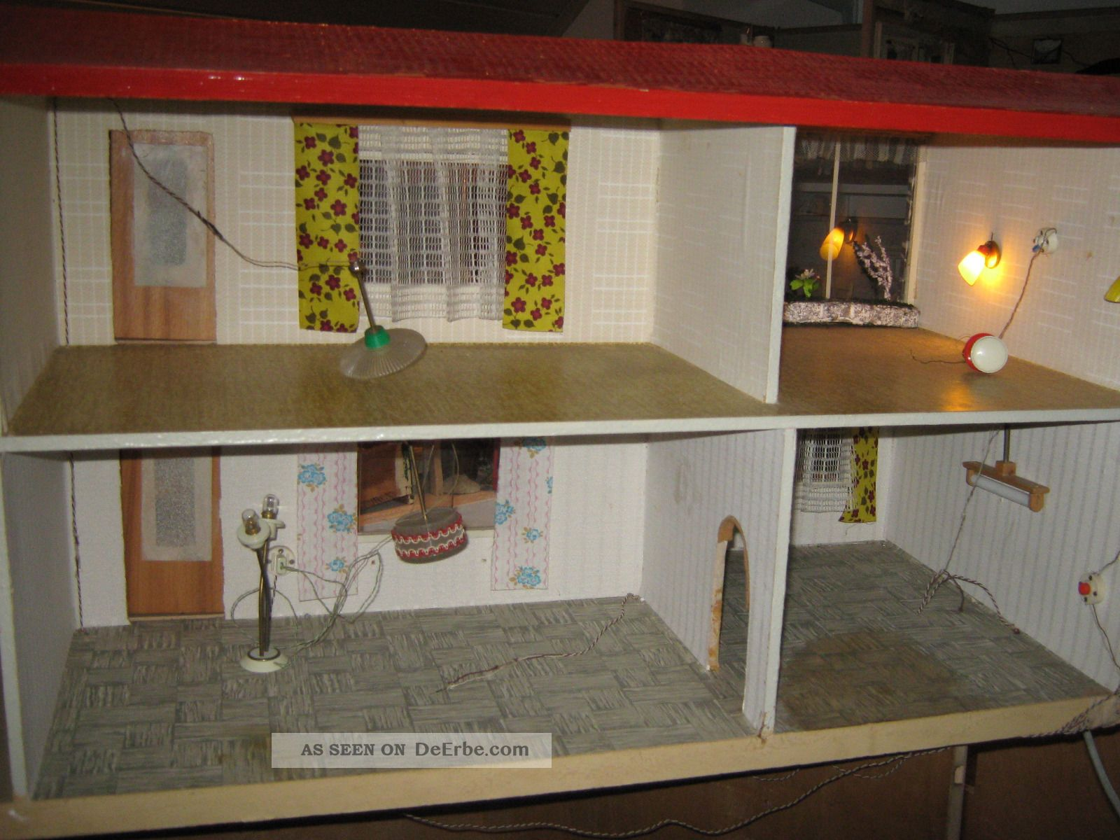 Antikes puppenhaus 50er jahre vmtl moritz gottschalk mit for Lampen puppenhaus