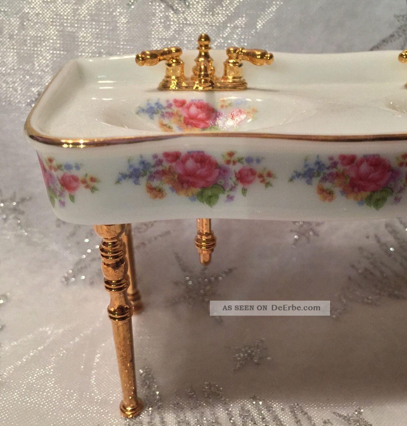 waschtisch mit 2 waschbecken reutter porzellan puppenstubenzubeh r. Black Bedroom Furniture Sets. Home Design Ideas
