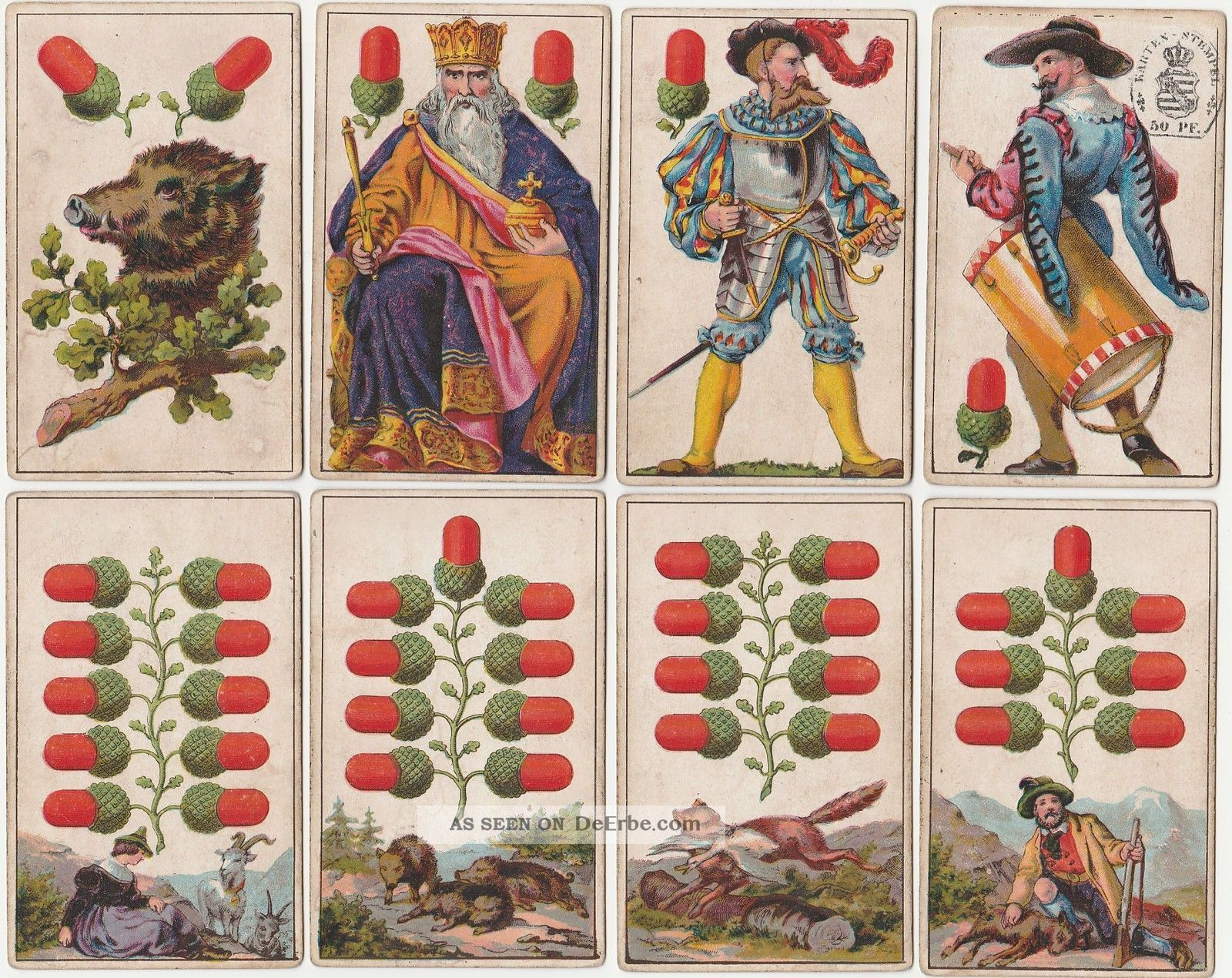 ♥ ♥ ♥ Alte Spielkarten Playing Cards Dondorf 301 Deutsche Spielkarte 1868 ♥ ♥ ♥ Gefertigt vor 1945 Bild