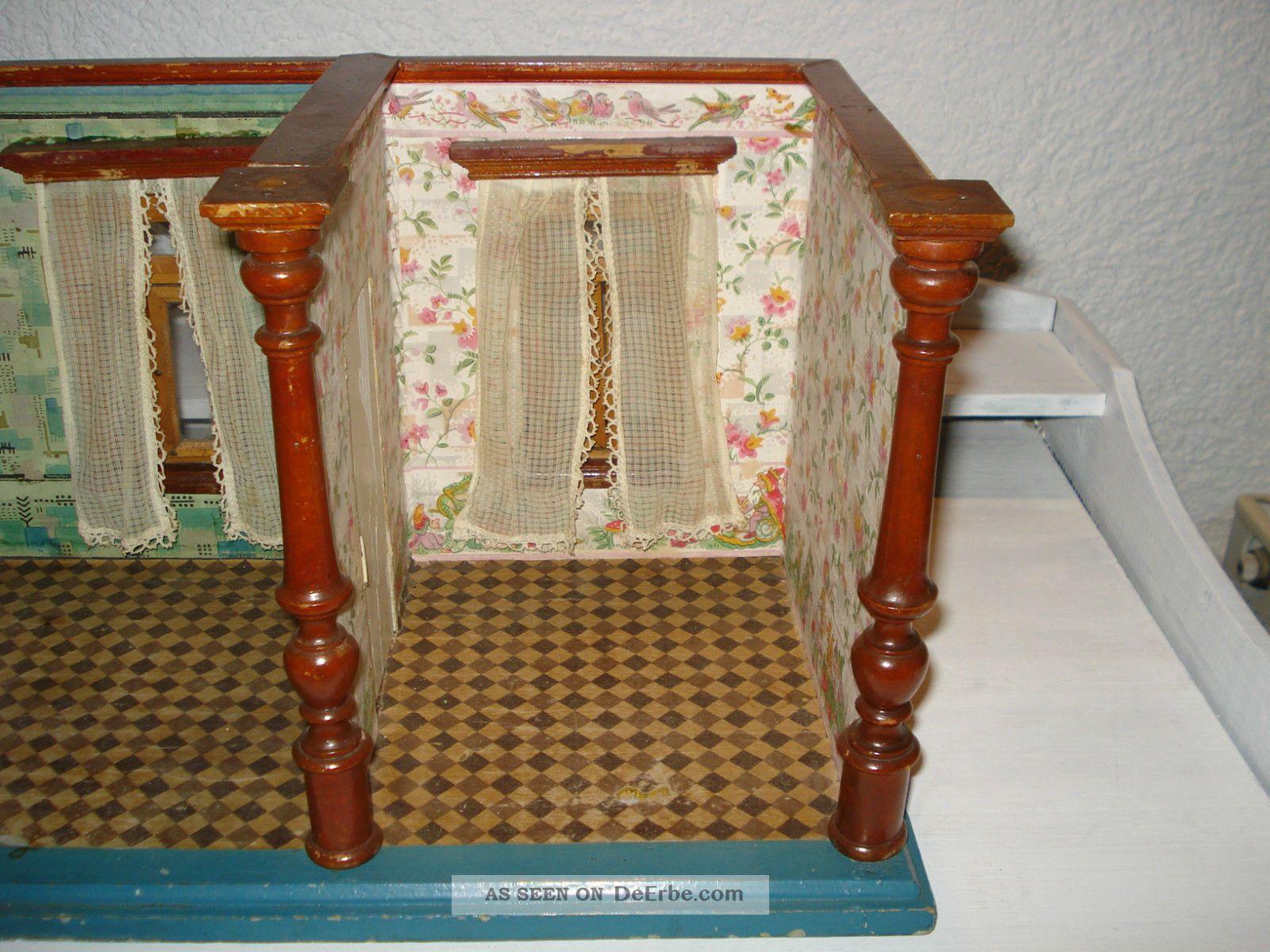 alte antike puppenstube um 1900 alte tapete und fu boden. Black Bedroom Furniture Sets. Home Design Ideas