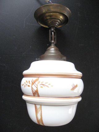 Jugendstil Deckenlampe Aus Der Zeit Mit Glasschirm Bild