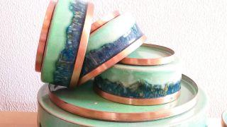 Emaillierte Kupferschüssel,  6 Schüsselchen Emaille Bols Emailwaren Grün Türkis Bild