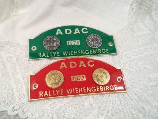 2 X Plakette Adac Rallye Wiehengebirge 1976 / 1977 Metall Emaille Grün Rot Bild
