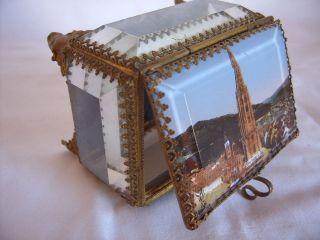 Seltene Kostbare Edle Antike Kristall Schmuckschatulle Mit Ansicht V.  Freiburg Bild