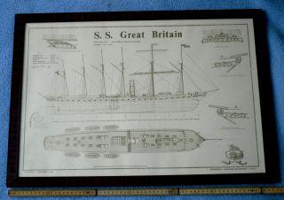2 Große,  Gerahmte Skizzenzeichnungen S.  S.  Great Britain,  Von 1979. Bild