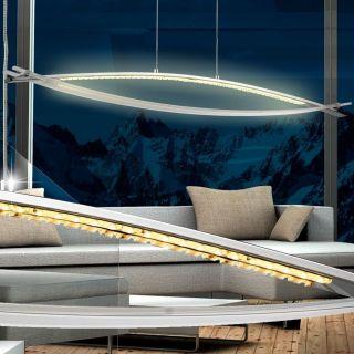 Led Luxus Pendel Leuchte Bogen Hänge Lampe Esszimmer Beleuchtung Chrom Licht Bild