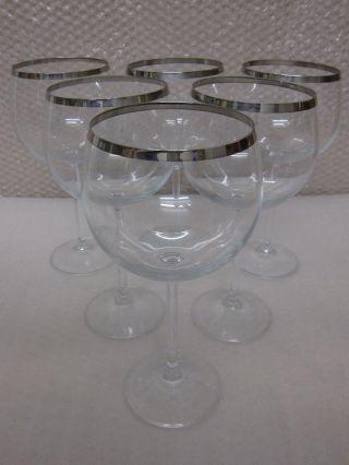 6 X Elegante Schöne Große Wein Gläser Mit Silberrand Bild