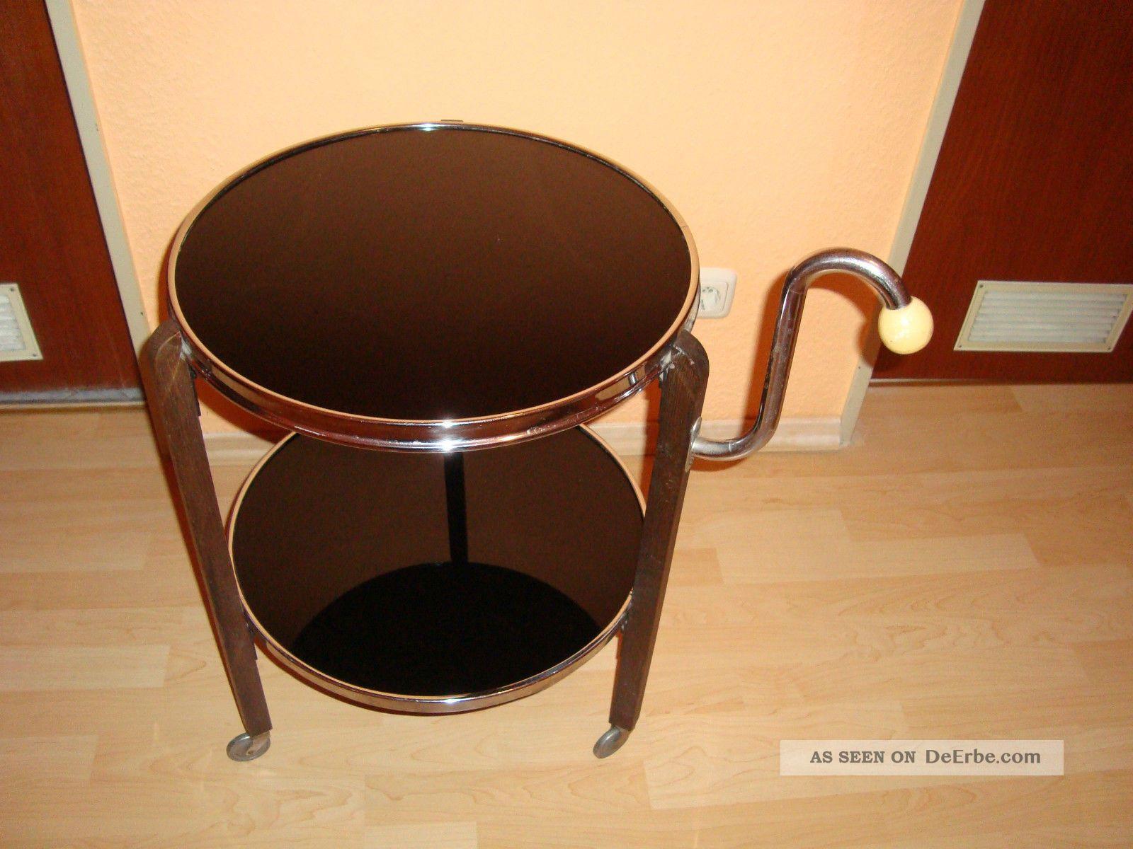 alter beistelltisch rolltisch servierwagen schwarz. Black Bedroom Furniture Sets. Home Design Ideas