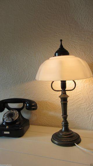 Jugendstil Tisch Lampe Bürolampe Schreibtisch Berlin Bronze/messing Opalglas Bild