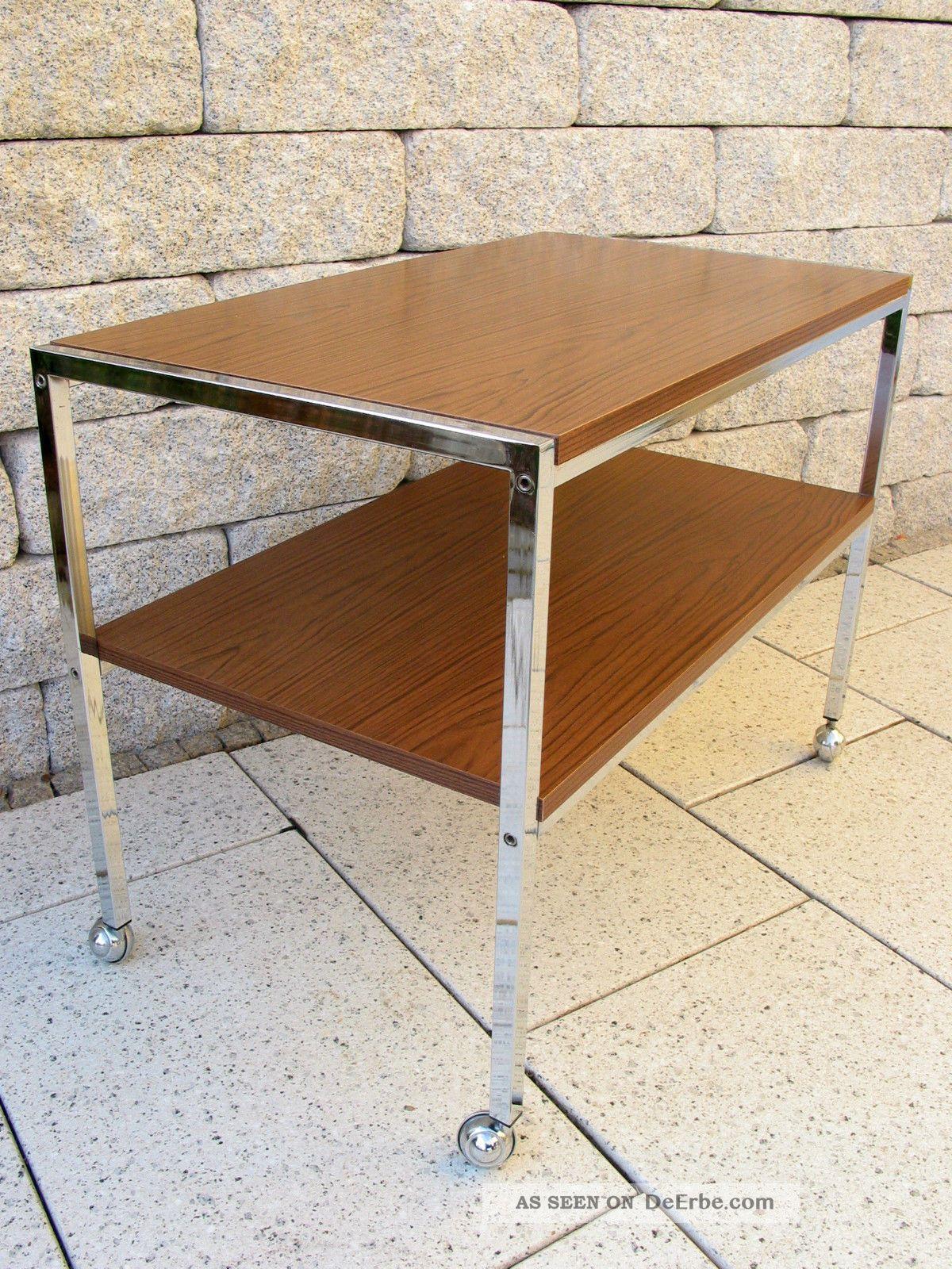 Chrom beistelltisch panton ra 70er tv tisch rack nussbaum for Tisch kugellampe design