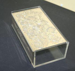 Wmf Klappbox Servietten Plexiglas Behälter Versilberter Deckel Schatulle 1960er Bild