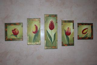 Bild Leinwand Handgemalt,  5 Bilder Tulpen Bild
