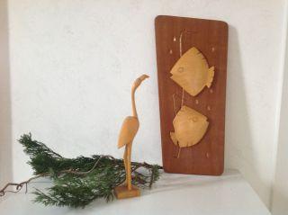 Bild Relief Holz Handgeschnitzt Fische Flamingo 50/60er Jahre Rockabilly Deko Bild