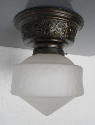 Schöne Jugendstil Deckenlampe Plafonniere Satiniertes Glas Um 1910 Bild