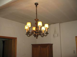 Antiker Deckenleuchter 6 - Flammig Bronze HÄngelampe Um 1900 Jugendstil Bild