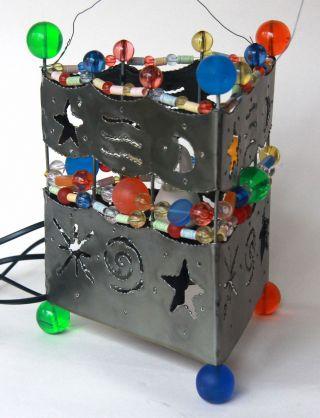 Künstlerlampe Als Tisch - Oder Hängelampe,  Metall (stahl) Mit Farbigen Perlen Bild