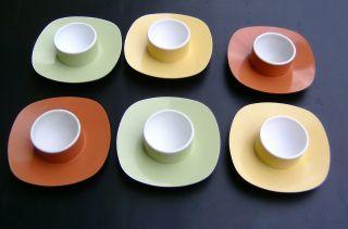 Bolta West Germany Design 60er Jahre 6 Eierbecher Stapelbar Pastelltöne Bild