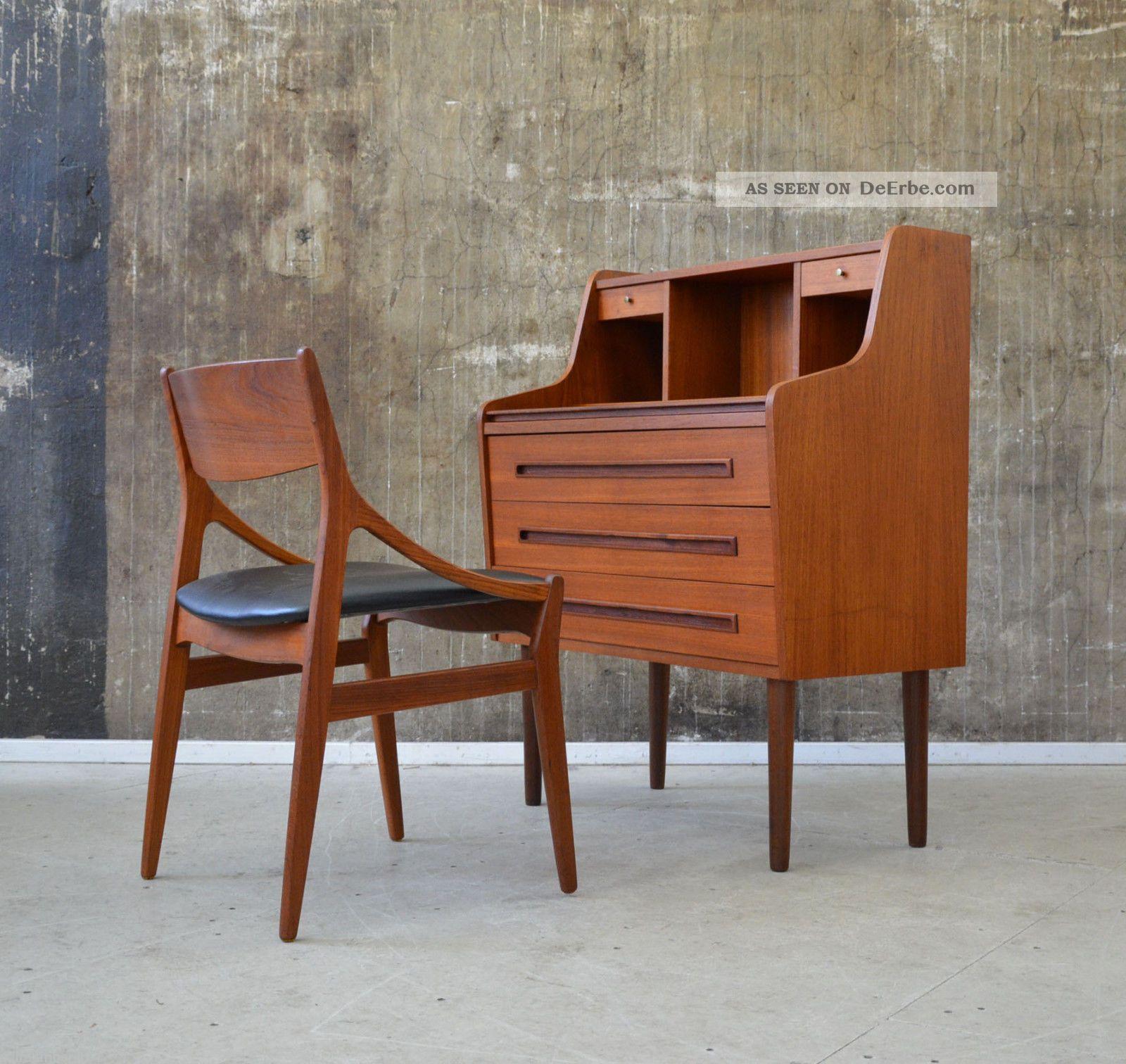 60er teak sekret r kommode danish design 60s writing. Black Bedroom Furniture Sets. Home Design Ideas