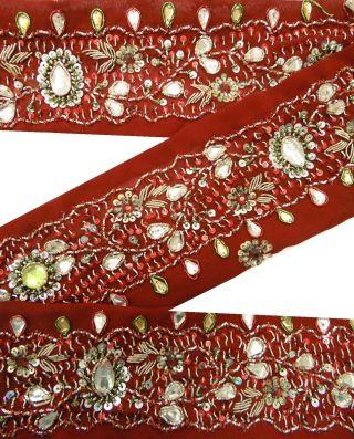 Vintage 1yd Lace Trim Maroon Craft Deco Sari Border Indien Hand Perlen Ribbon Bild