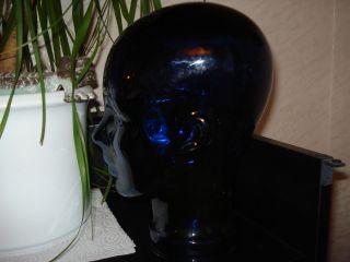 Glaskopf Dunkelblau Massiv Glas 2400g 29cm Perücke Kopfhörerhalter 70er Top Kult Bild
