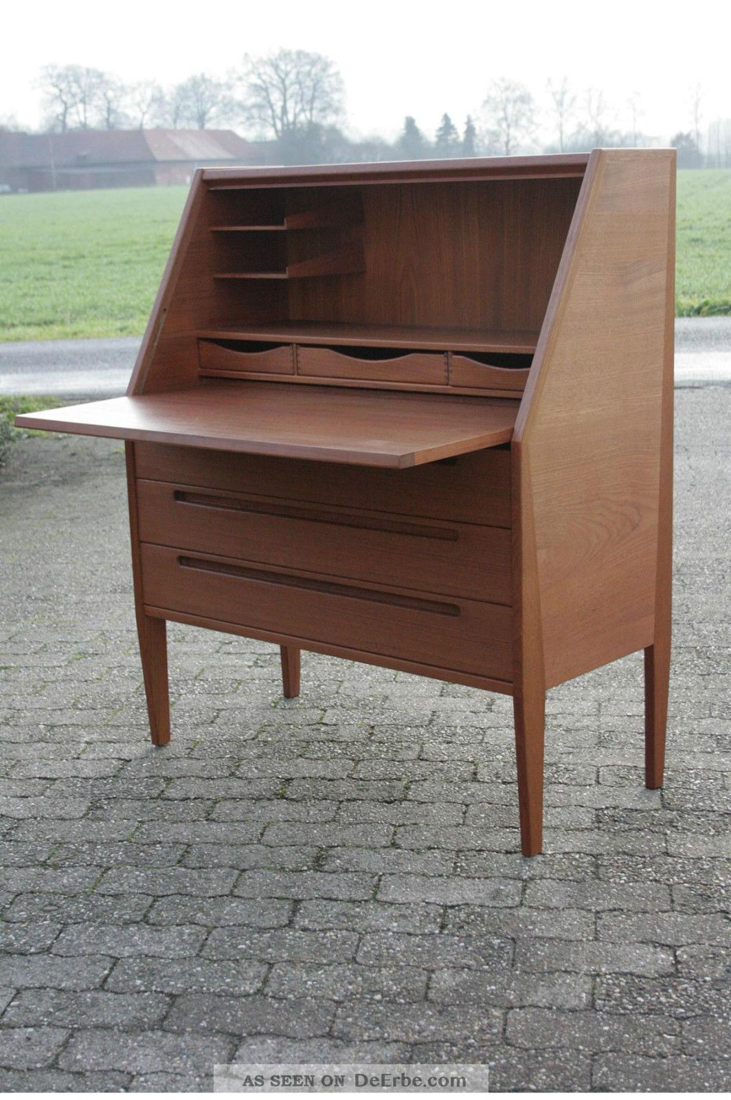 hjn m bler sekret r 50er 60er teak danish modern mid century schreibtisch. Black Bedroom Furniture Sets. Home Design Ideas