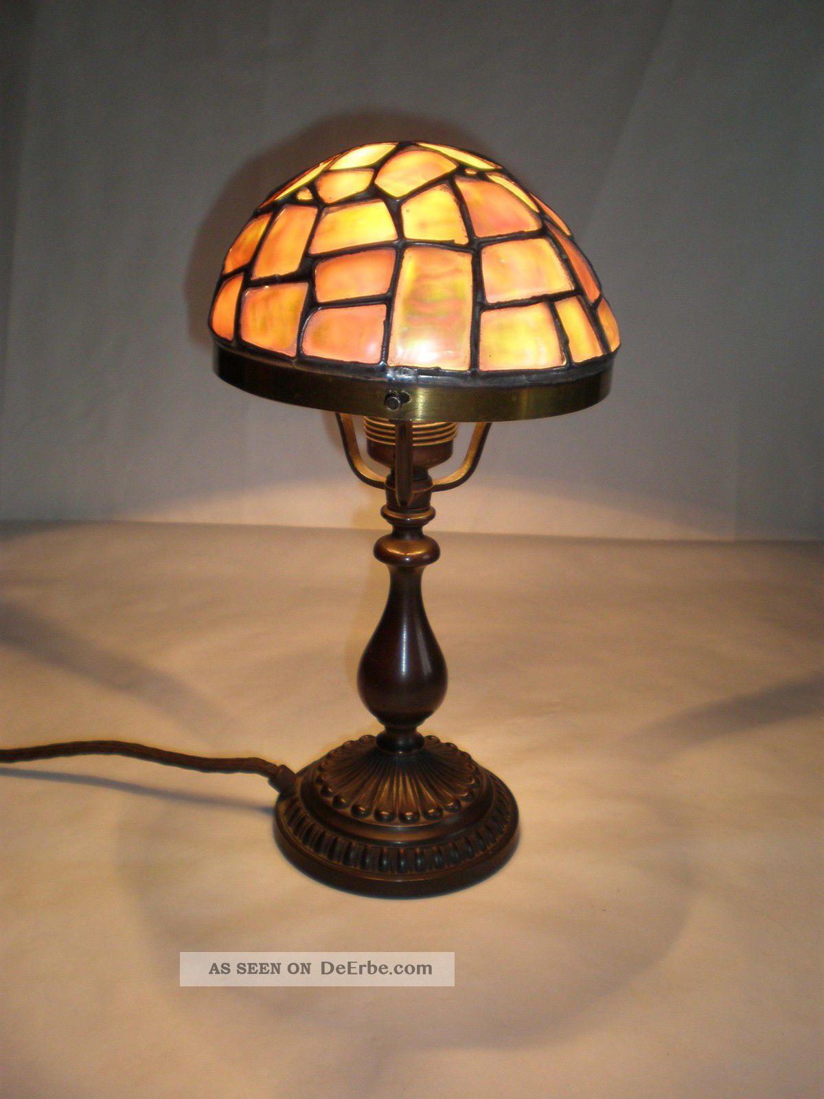 Jugendstil perlmutt schreibtisch lampe um 1910 for Lampenschirm tischlampe
