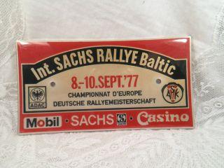 Plakette Adac / Ask Int.  Sachs Rallye Baltic 8.  - 10.  Sept.  `77 Deutsche Rallyem. Bild