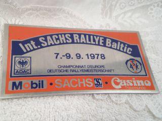 Plakette Adac / Ask Int.  Sachs Rallye Baltic Sept.  1978 Deutsche Rallyemeisters. Bild