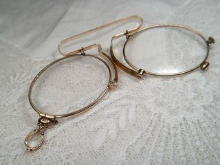 Antik Zwicker Kneifer Brille Rotgold Vergoldet Feine Gravur Verziert Vergrößert Bild