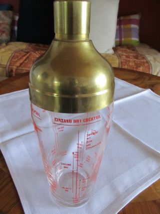 Vintage Shaker / Cocktail Shaker / Bar Shaker Messing Mit Glas,  Rezepte Bild