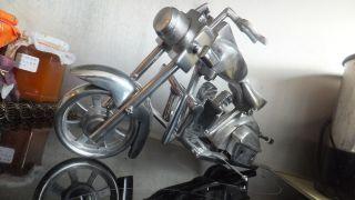 Harley Davidson Model - Skulptur Metall Alu - Poliert Traumhaft Gut Astr Bild