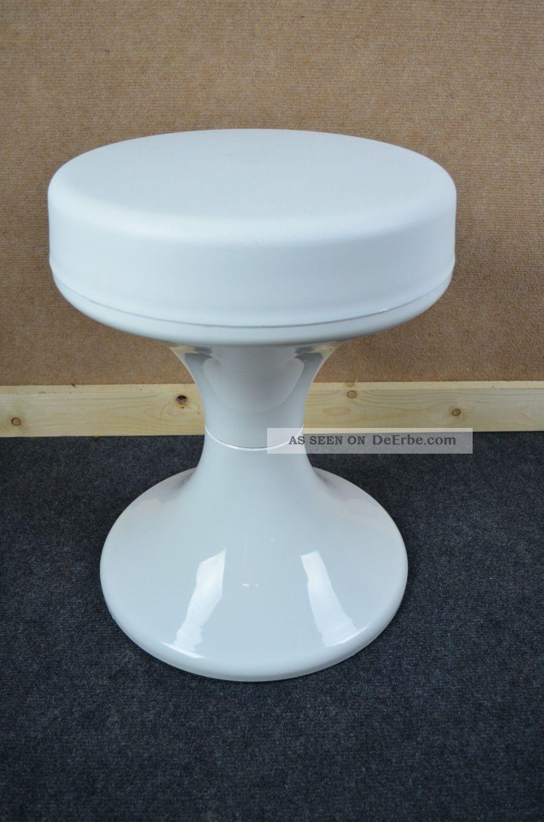 70er Jahre Tulpenfuß Hocker Pop Design White 70s Stuhl Chair