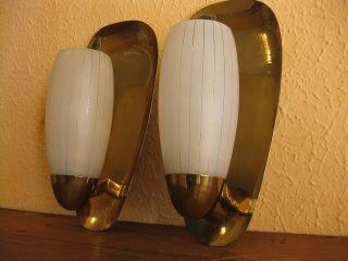 2x Wandlampe Tütenlampe Lampe Alt 50er Messing Design Nierentisch Ära Rockabilly Bild